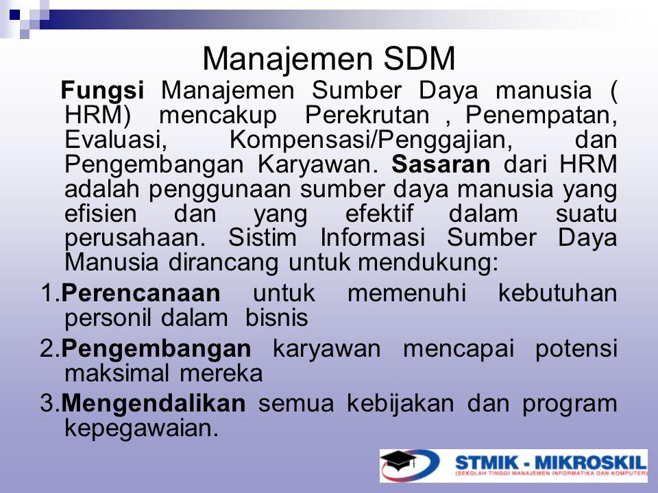 Manajemen SDM Fungsi Manajemen Sumber Daya manusia ( HRM) mencakup Perekrutan, Penempatan, Evaluasi, Kompensasi/Penggajian, dan Pengembangan Karyawan.