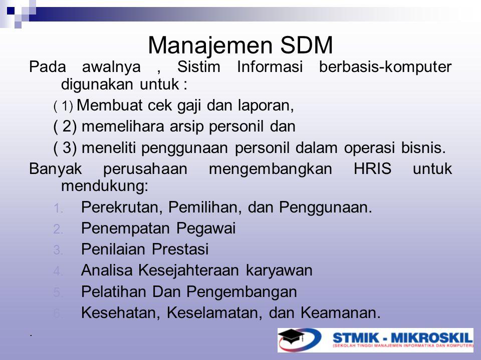 Manajemen SDM Pada awalnya, Sistim Informasi berbasis-komputer digunakan untuk : ( 1) Membuat cek gaji dan laporan, ( 2) memelihara arsip personil dan