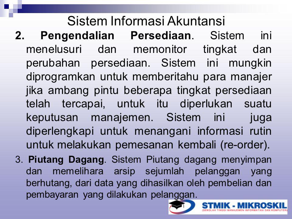Sistem Informasi Akuntansi 2. Pengendalian Persediaan. Sistem ini menelusuri dan memonitor tingkat dan perubahan persediaan. Sistem ini mungkin diprog