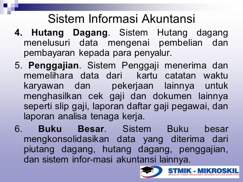 Sistem Informasi Akuntansi 4. Hutang Dagang. Sistem Hutang dagang menelusuri data mengenai pembelian dan pembayaran kepada para penyalur. 5. Penggajia