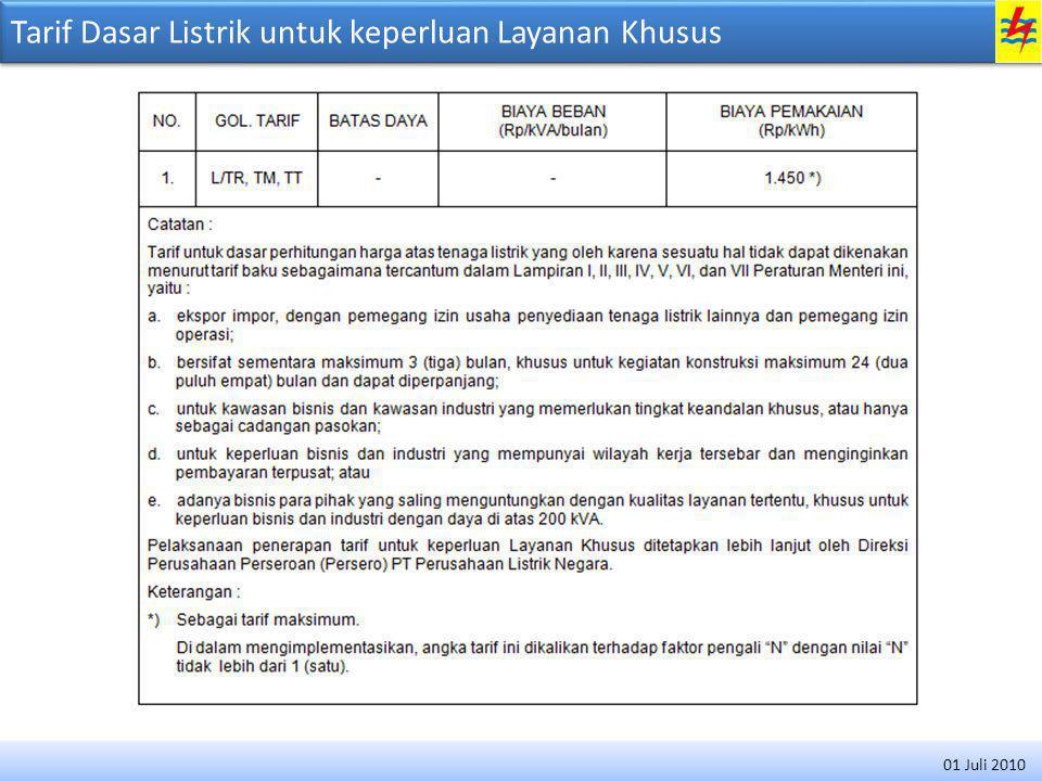 Tarif Dasar Listrik untuk keperluan Layanan Khusus 01 Juli 2010