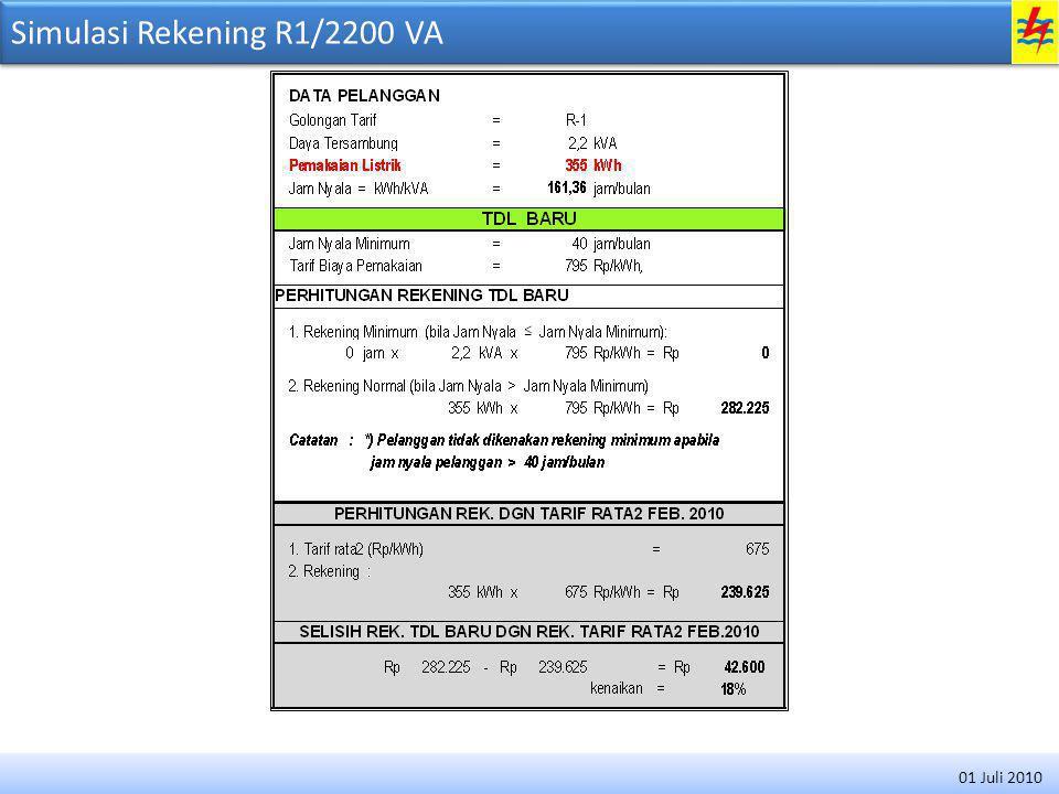 Simulasi Rekening R1/2200 VA 01 Juli 2010