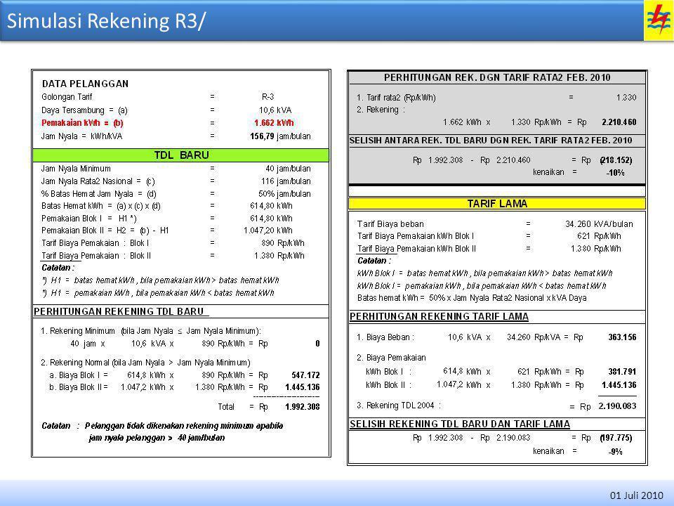 Simulasi Rekening B1/1300 VA 01 Juli 2010