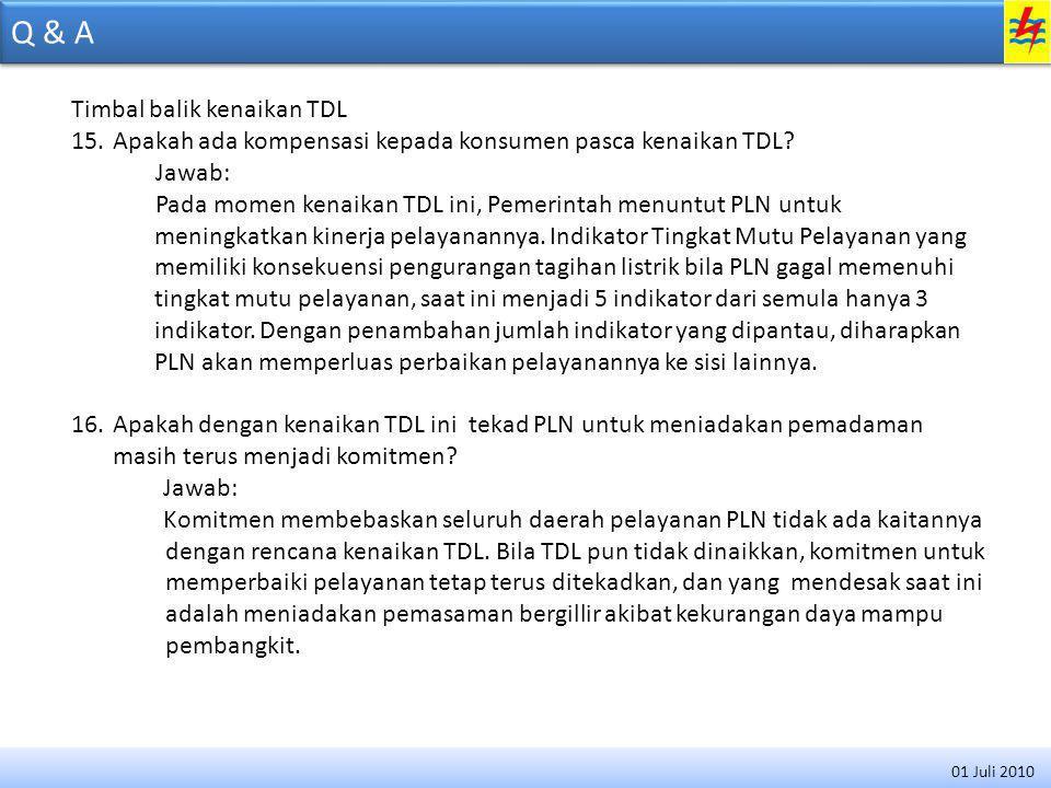 Q & A Timbal balik kenaikan TDL 15.Apakah ada kompensasi kepada konsumen pasca kenaikan TDL.