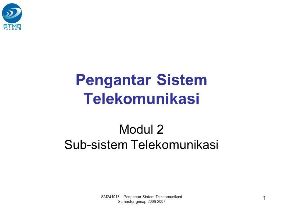 SM241013 - Pengantar Sistem Telekomunikasi Semester genap 2006-2007 1 Pengantar Sistem Telekomunikasi Modul 2 Sub-sistem Telekomunikasi