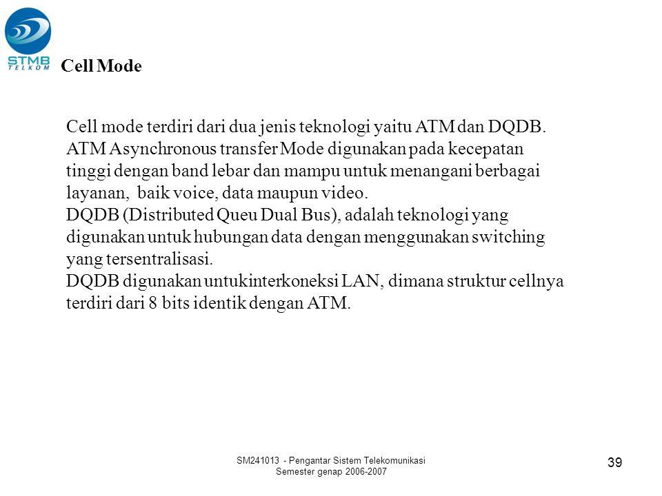 SM241013 - Pengantar Sistem Telekomunikasi Semester genap 2006-2007 39 Cell Mode Cell mode terdiri dari dua jenis teknologi yaitu ATM dan DQDB. ATM As