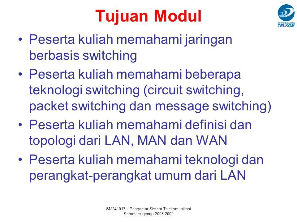 SM241013 - Pengantar Sistem Telekomunikasi Semester genap 2008-2009 Metro Area Network MAN adalah jaringan yang menghubungkan LAN-LAN yang berada dalam satu kota Kriteria utama: hubungan antar LAN menggunakan jaringan telepon lokal Protokol yang digunakan: X.25, Frame Relay, Asynchronous Transfer Mode (ATM), ISDN (Integrated Services Digital Network), Dedicated T1/Fractional T1, ADSL (Asymmetrical Digital Subscriber Line), XDSL Hubungan antar lokal area network di suatu kota atau melalui suatu kampus.