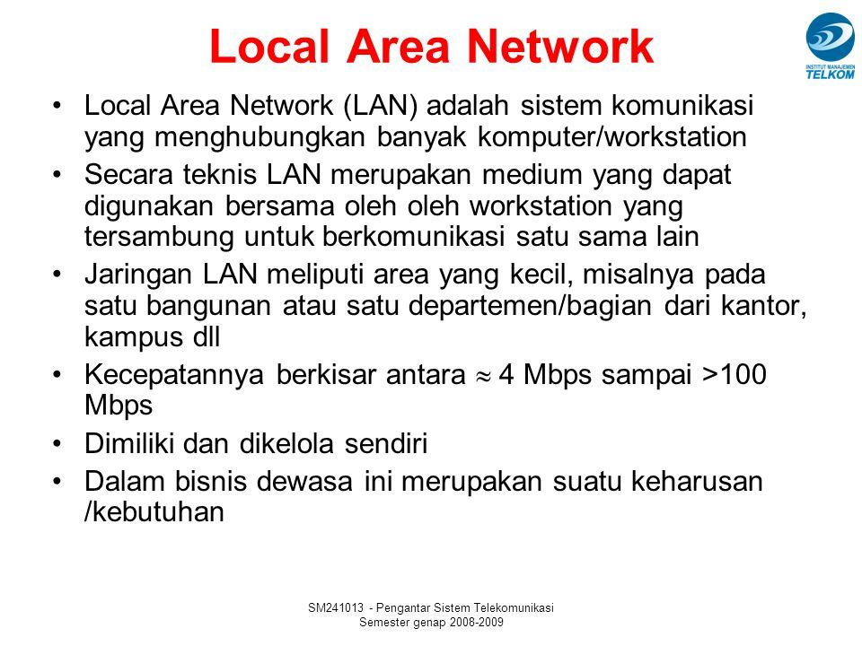 SM241013 - Pengantar Sistem Telekomunikasi Semester genap 2008-2009 Local Area Network Local Area Network (LAN) adalah sistem komunikasi yang menghubu