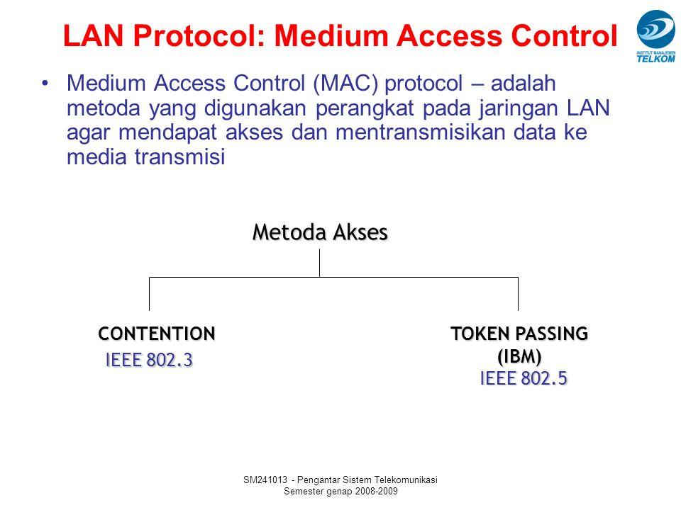 SM241013 - Pengantar Sistem Telekomunikasi Semester genap 2008-2009 LAN Protocol: Medium Access Control Medium Access Control (MAC) protocol – adalah