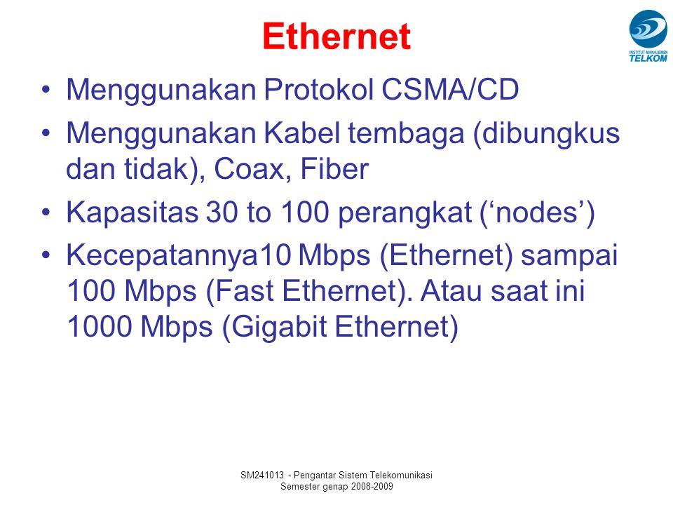 SM241013 - Pengantar Sistem Telekomunikasi Semester genap 2008-2009 Ethernet Menggunakan Protokol CSMA/CD Menggunakan Kabel tembaga (dibungkus dan tid