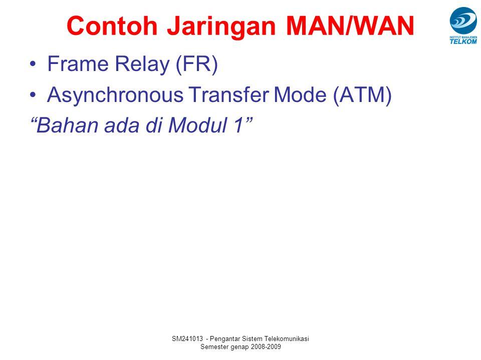 "SM241013 - Pengantar Sistem Telekomunikasi Semester genap 2008-2009 Contoh Jaringan MAN/WAN Frame Relay (FR) Asynchronous Transfer Mode (ATM) ""Bahan a"