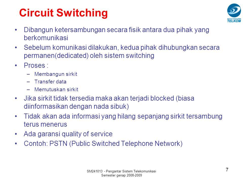 SM241013 - Pengantar Sistem Telekomunikasi Semester genap 2008-2009 48 Hub  Hub merupakan sentral dari suatu LAN atau enterprise network  Beberapa jenis hub antara lain : Repeater hub  Memiliki beberapa connection port utk dihubungkan ke workstation  Apabila ada station yg mengirim data, repeater meng-copy data tsb ke semua port Wiring concentrator  Merupakan token-ring network concentrator  Sering disebut multistation access unit (MAU)  Pada prinsipnya merupakan ring dalam kotak Switching hub  Disebut juga frame switch atau LAN switch  Memiliki multiport devices yang masing-masing beroperasi seperti LAN terpisah dengan broadcast domain sendiri Workgroup hub  Memiliki port-port yang dihubungkan ke hub yang lain  Bisa merupakan repeater hub, concentrator atau switching hub Enterprise hub  Merupakan sentral dimana semua workgroup hub di perusahan/organisasi terhubung