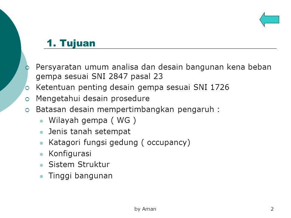 by Aman2 1. Tujuan  Persyaratan umum analisa dan desain bangunan kena beban gempa sesuai SNI 2847 pasal 23  Ketentuan penting desain gempa sesuai SN