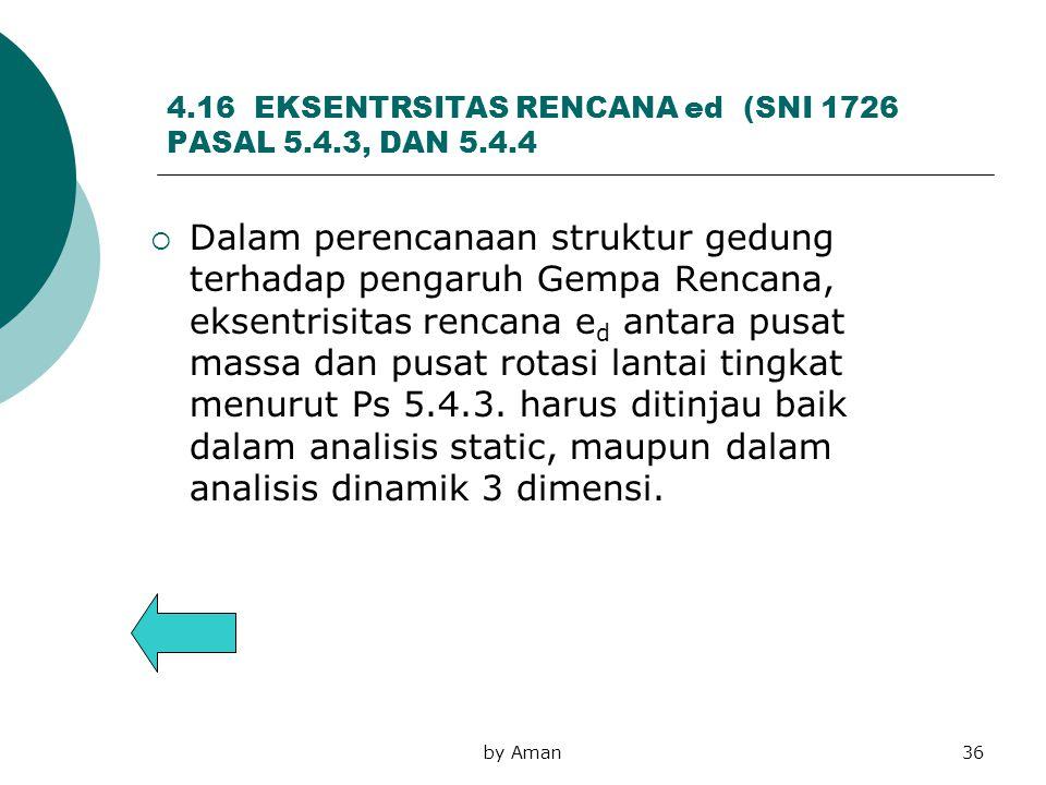 by Aman36 4.16 EKSENTRSITAS RENCANA ed (SNI 1726 PASAL 5.4.3, DAN 5.4.4  Dalam perencanaan struktur gedung terhadap pengaruh Gempa Rencana, eksentris