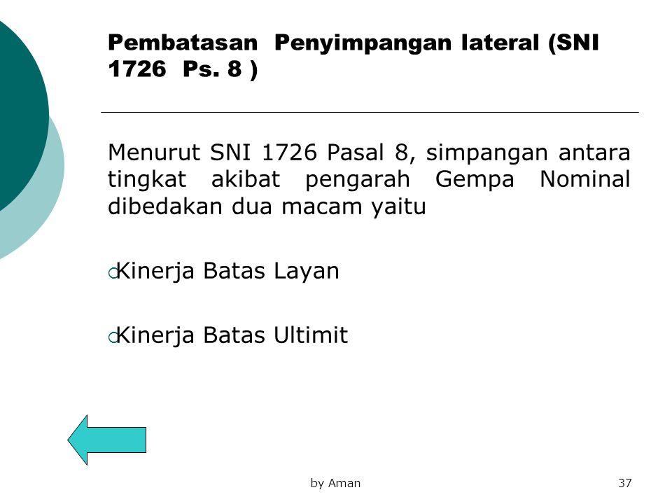 Pembatasan Penyimpangan lateral (SNI 1726 Ps. 8 ) Menurut SNI 1726 Pasal 8, simpangan antara tingkat akibat pengarah Gempa Nominal dibedakan dua macam