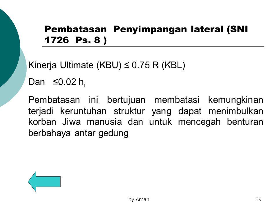 by Aman39 Kinerja Ultimate (KBU) ≤ 0.75 R (KBL) Dan ≤0.02 h i Pembatasan Penyimpangan lateral (SNI 1726 Ps. 8 ) Pembatasan ini bertujuan membatasi kem