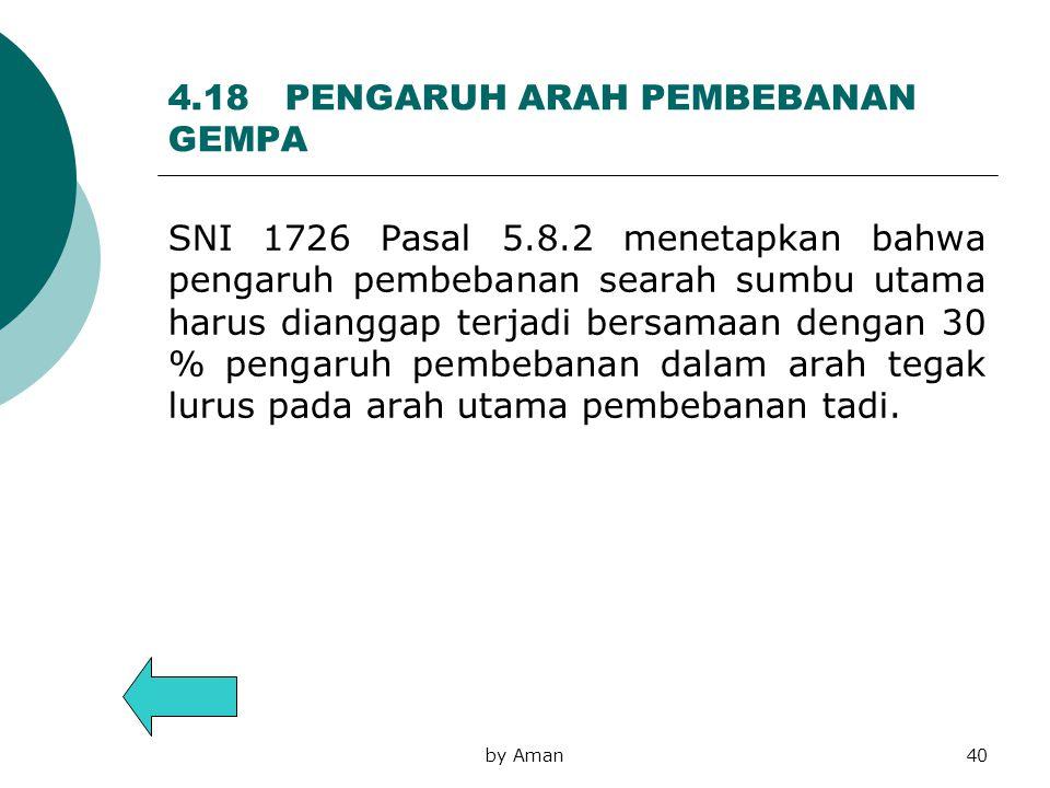 4.18 PENGARUH ARAH PEMBEBANAN GEMPA SNI 1726 Pasal 5.8.2 menetapkan bahwa pengaruh pembebanan searah sumbu utama harus dianggap terjadi bersamaan deng