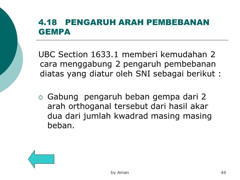 4.18 PENGARUH ARAH PEMBEBANAN GEMPA UBC Section 1633.1 memberi kemudahan 2 cara menggabung 2 pengaruh pembebanan diatas yang diatur oleh SNI sebagai b