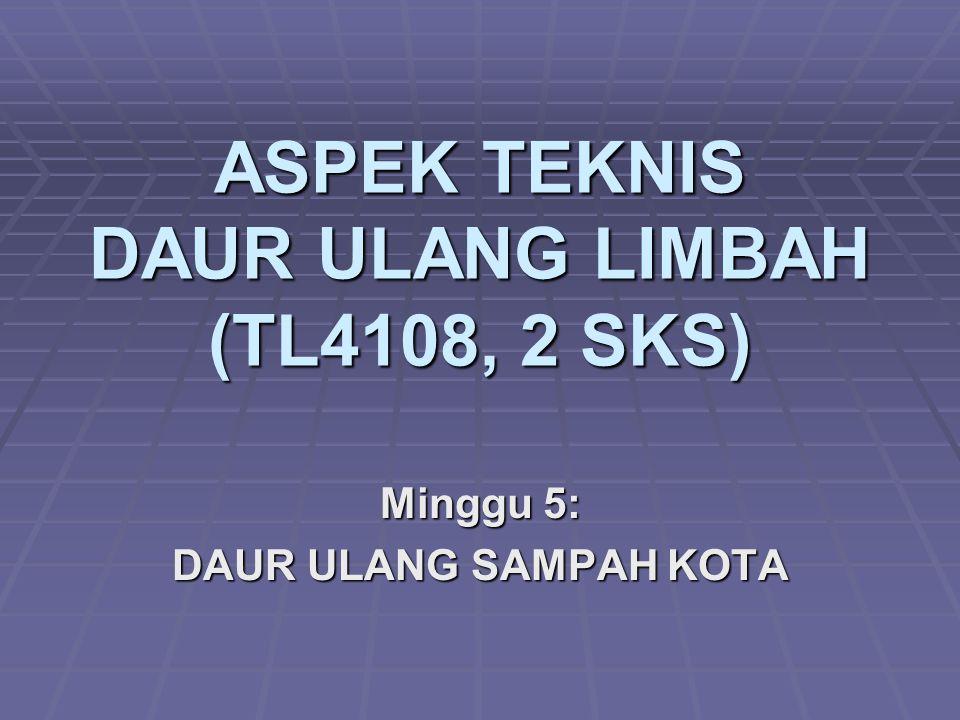 ASPEK TEKNIS DAUR ULANG LIMBAH (TL4108, 2 SKS) Minggu 5: DAUR ULANG SAMPAH KOTA