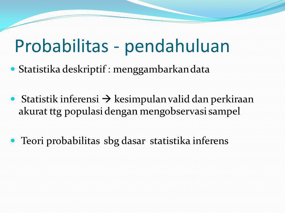 Probabilitas - pendahuluan Statistika deskriptif : menggambarkan data Statistik inferensi  kesimpulan valid dan perkiraan akurat ttg populasi dengan mengobservasi sampel Teori probabilitas sbg dasar statistika inferens