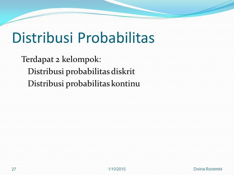 Distribusi Probabilitas Terdapat 2 kelompok: Distribusi probabilitas diskrit Distribusi probabilitas kontinu 1/10/2015Dwina Roosmini 27