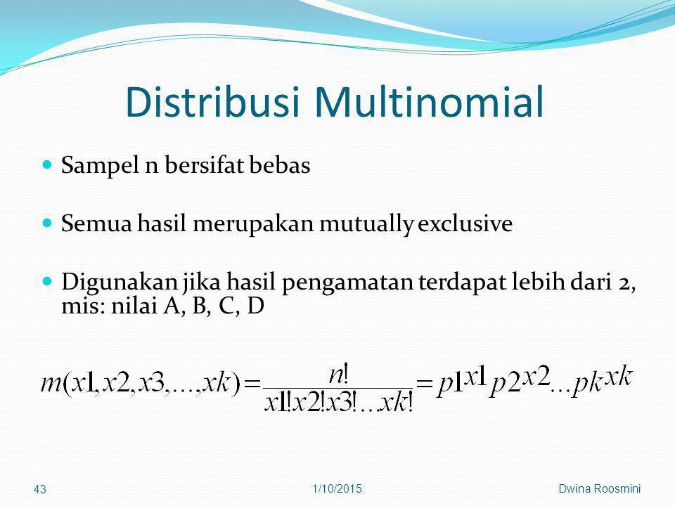 Distribusi Multinomial Sampel n bersifat bebas Semua hasil merupakan mutually exclusive Digunakan jika hasil pengamatan terdapat lebih dari 2, mis: nilai A, B, C, D Dwina Roosmini 43 1/10/2015