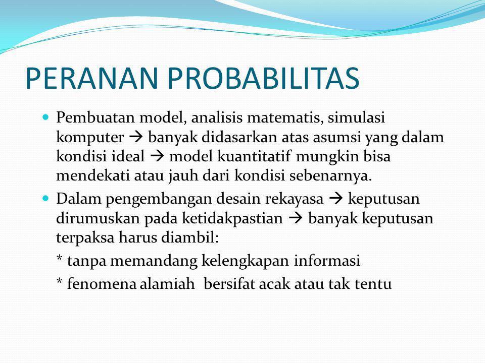 PERANAN PROBABILITAS Pembuatan model, analisis matematis, simulasi komputer  banyak didasarkan atas asumsi yang dalam kondisi ideal  model kuantitatif mungkin bisa mendekati atau jauh dari kondisi sebenarnya.