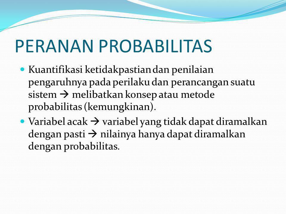PERANAN PROBABILITAS Kuantifikasi ketidakpastian dan penilaian pengaruhnya pada perilaku dan perancangan suatu sistem  melibatkan konsep atau metode probabilitas (kemungkinan).