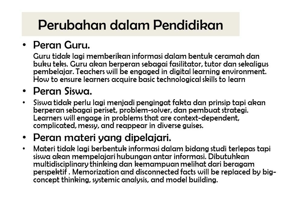 Perubahan dalam Pendidikan Peran Guru.