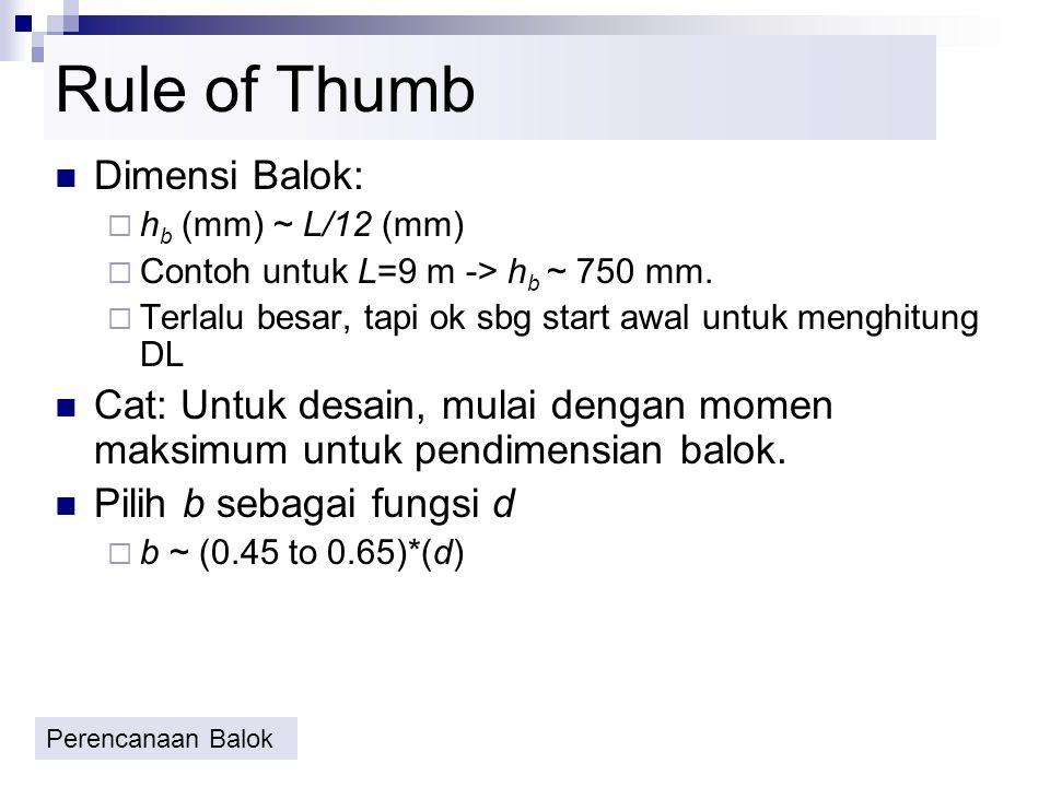 Desain Balok Menggunakan Tabel 1.Hitung momen,Mu dgn metoda analisis struktur 2.Tentukan dimensi balok bw,d 3.Tentukan mutu beton, fc dan mutu baja, f