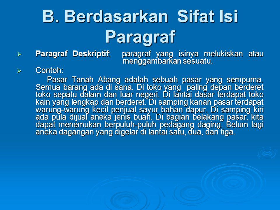 B. Berdasarkan Sifat Isi Paragraf  Paragraf Deskriptif: paragraf yang isinya melukiskan atau menggambarkan sesuatu.  Contoh: Pasar Tanah Abang adala