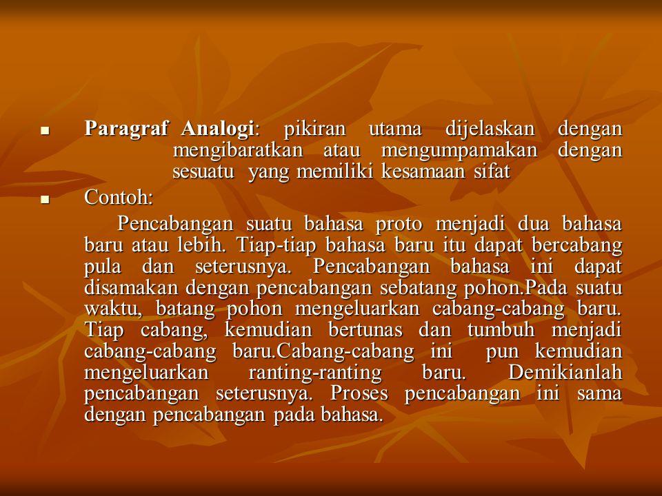 Paragraf Analogi: pikiran utama dijelaskan dengan mengibaratkan atau mengumpamakan dengan sesuatu yang memiliki kesamaan sifat Paragraf Analogi: pikir