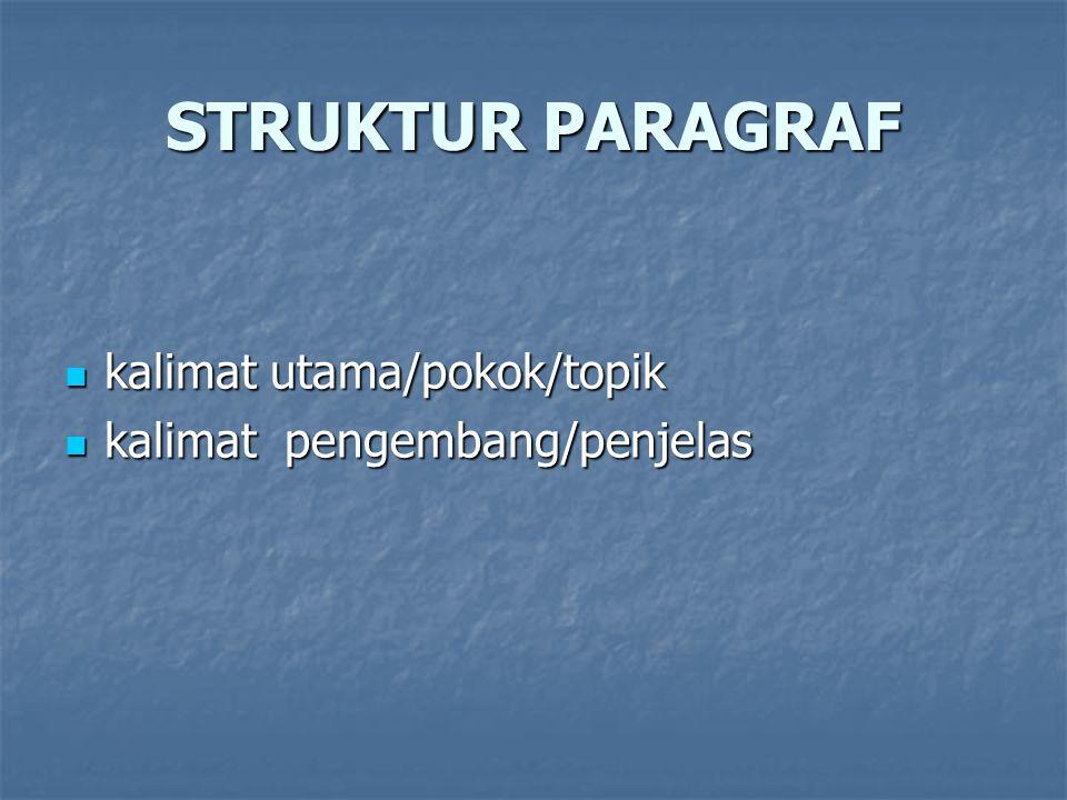 STRUKTUR PARAGRAF kalimat utama/pokok/topik kalimat utama/pokok/topik kalimat pengembang/penjelas kalimat pengembang/penjelas