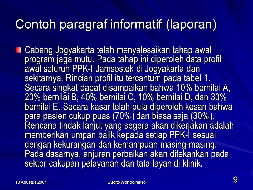 13 Agustus 2004 Sugito Wonodirekso 9 Contoh paragraf informatif (laporan) Cabang Jogyakarta telah menyelesaikan tahap awal program jaga mutu.