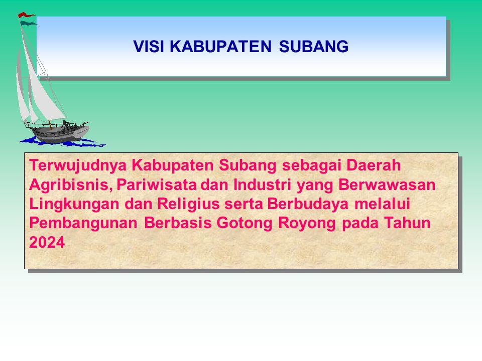 VISI KABUPATEN SUBANG Terwujudnya Kabupaten Subang sebagai Daerah Agribisnis, Pariwisata dan Industri yang Berwawasan Lingkungan dan Religius serta Be