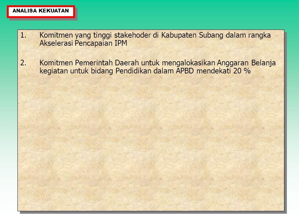 1.Komitmen yang tinggi stakehoder di Kabupaten Subang dalam rangka Akselerasi Pencapaian IPM 2.Komitmen Pemerintah Daerah untuk mengalokasikan Anggara