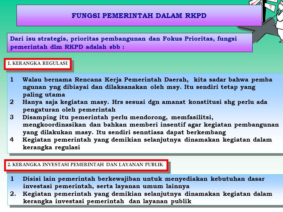 FUNGSI PEMERINTAH DALAM RKPD Dari isu strategis, prioritas pembangunan dan Fokus Prioritas, fungsi pemerintah dlm RKPD adalah sbb : 1 Walau bernama Re