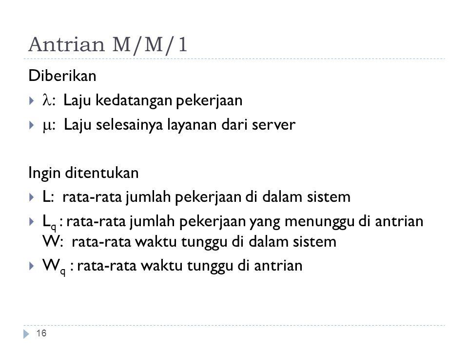 Antrian M/M/1 16 Diberikan  : Laju kedatangan pekerjaan   : Laju selesainya layanan dari server Ingin ditentukan  L: rata-rata jumlah pekerjaan di