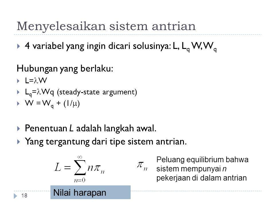 Menyelesaikan sistem antrian 18  4 variabel yang ingin dicari solusinya: L, L q W, W q Hubungan yang berlaku:  L= W  L q = Wq (steady-state argumen