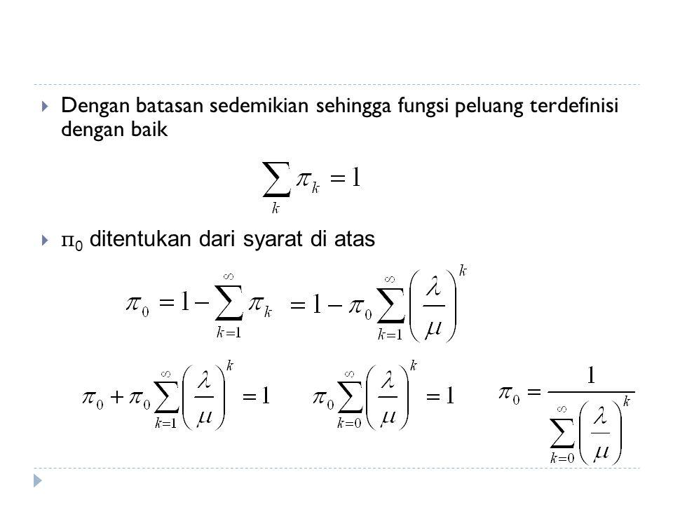  Dengan batasan sedemikian sehingga fungsi peluang terdefinisi dengan baik  π 0 ditentukan dari syarat di atas