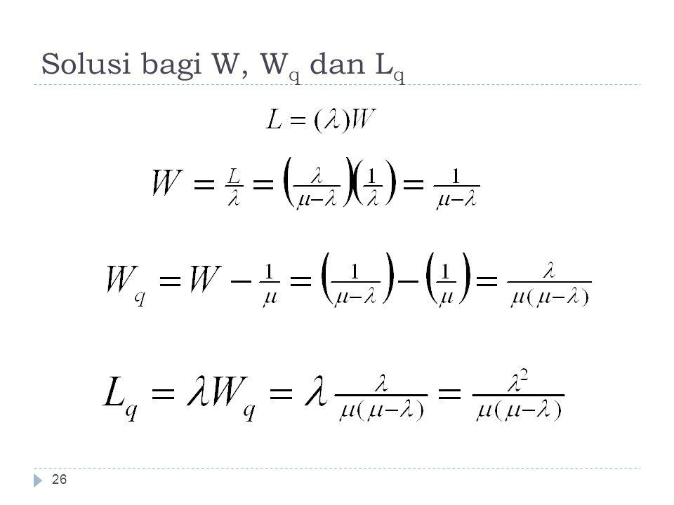 Solusi bagi W, W q dan L q 26