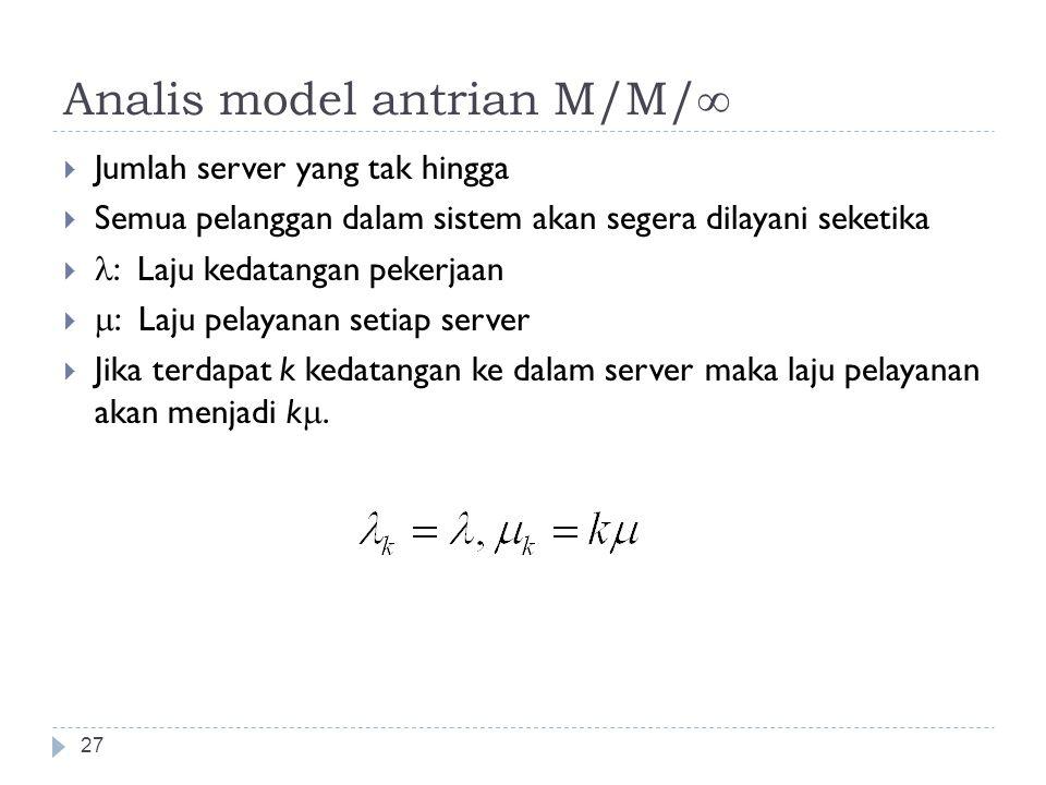 Analis model antrian M/M/∞ 27  Jumlah server yang tak hingga  Semua pelanggan dalam sistem akan segera dilayani seketika  : Laju kedatangan pekerja