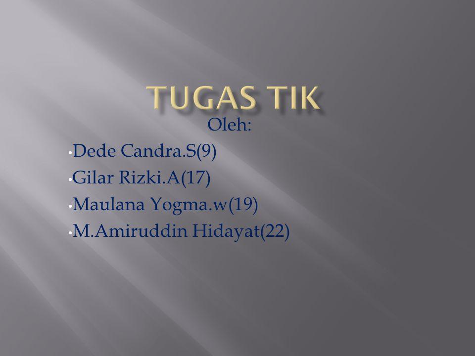 Oleh: Dede Candra.S(9) Gilar Rizki.A(17) Maulana Yogma.w(19) M.Amiruddin Hidayat(22)