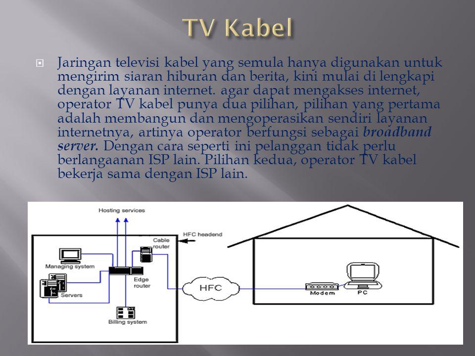  Jaringan televisi kabel yang semula hanya digunakan untuk mengirim siaran hiburan dan berita, kini mulai di lengkapi dengan layanan internet. agar d