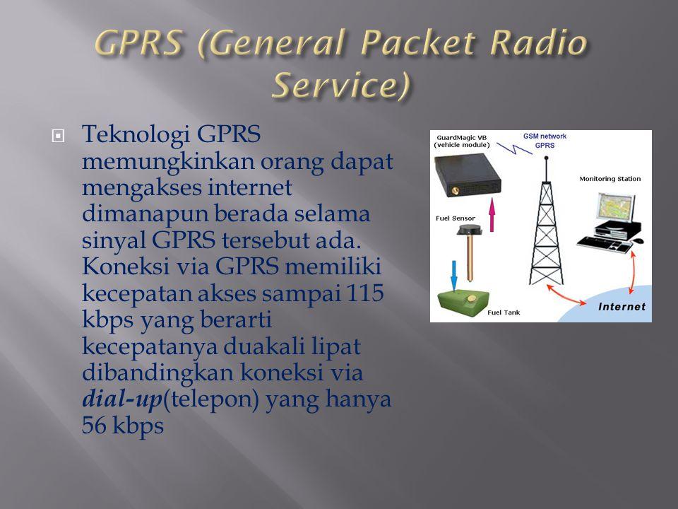  Teknologi GPRS memungkinkan orang dapat mengakses internet dimanapun berada selama sinyal GPRS tersebut ada. Koneksi via GPRS memiliki kecepatan aks