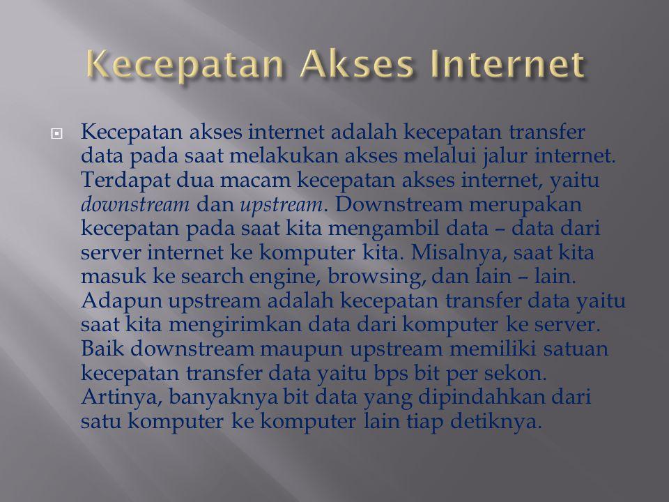  Kecepatan akses internet adalah kecepatan transfer data pada saat melakukan akses melalui jalur internet. Terdapat dua macam kecepatan akses interne