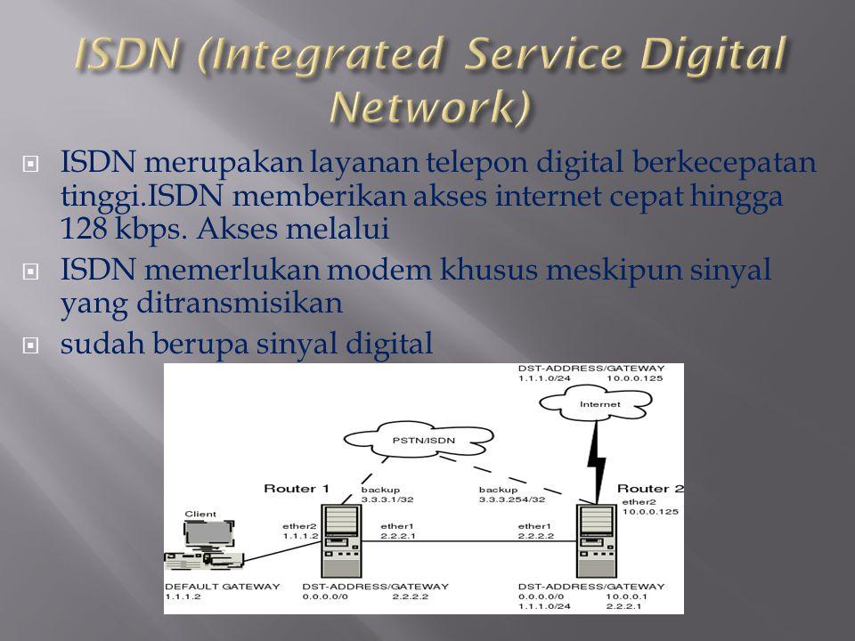  ISDN merupakan layanan telepon digital berkecepatan tinggi.ISDN memberikan akses internet cepat hingga 128 kbps. Akses melalui  ISDN memerlukan mod