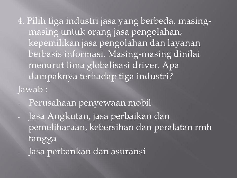Globalisasi driver, meliputi : 1. Persaingan 2. Pasar 3. Teknologi 4. Biaya 5. pemerintah