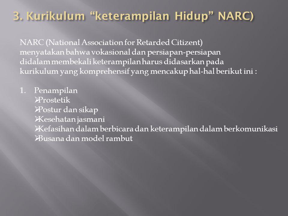 NARC (National Association for Retarded Citizent) menyatakan bahwa vokasional dan persiapan-persiapan didalam membekali keterampilan harus didasarkan