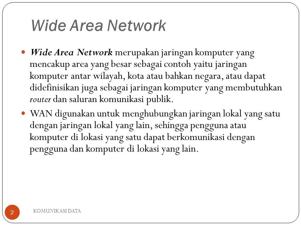 KOMUNIKASI DATA 2 Wide Area Network Wide Area Network merupakan jaringan komputer yang mencakup area yang besar sebagai contoh yaitu jaringan komputer antar wilayah, kota atau bahkan negara, atau dapat didefinisikan juga sebagai jaringan komputer yang membutuhkan router dan saluran komunikasi publik.